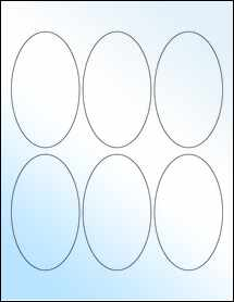 "Sheet of 2.5"" x 4.25"" Oval White Gloss Laser labels"