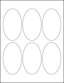 "Sheet of 2.5"" x 4.25"" Oval Standard White Matte labels"