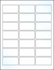 """Sheet of 2.5"""" x 1.25"""" Clear Gloss Laser labels"""