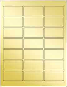 """Sheet of 2.5"""" x 1.25"""" Gold Foil Laser labels"""