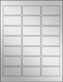 """Sheet of 2.5"""" x 1.25"""" Silver Foil Inkjet labels"""