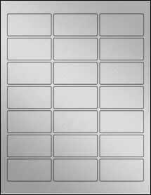 "Sheet of 2.5"" x 1.25"" Weatherproof Silver Polyester Laser labels"