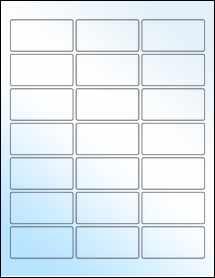 """Sheet of 2.5"""" x 1.25"""" White Gloss Inkjet labels"""