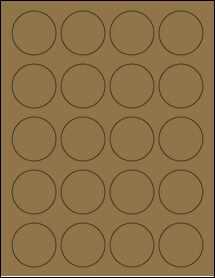 """Sheet of 1.75"""" Circle Brown Kraft labels"""