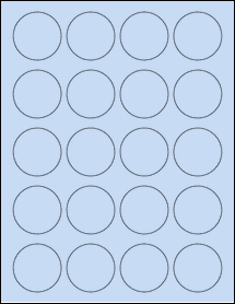 "Sheet of 1.75"" Circle Pastel Blue labels"