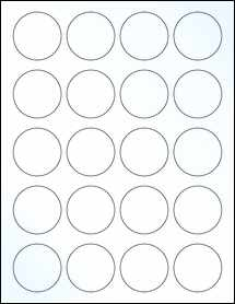 """Sheet of 1.75"""" Circle Clear Gloss Laser labels"""