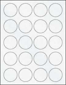 "Sheet of 1.75"" Circle Clear Matte Laser labels"
