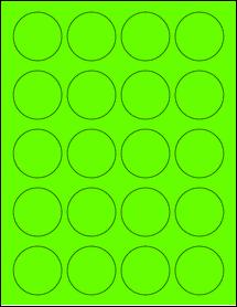 "Sheet of 1.75"" Circle Fluorescent Green labels"