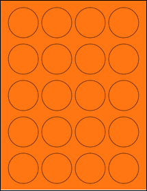 "Sheet of 1.75"" Circle Fluorescent Orange labels"