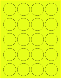 "Sheet of 1.75"" Circle Fluorescent Yellow labels"