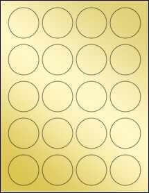 """Sheet of 1.75"""" Circle Gold Foil Laser labels"""