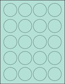 "Sheet of 1.75"" Circle Pastel Green labels"