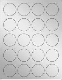 "Sheet of 1.75"" Circle Silver Foil Inkjet labels"