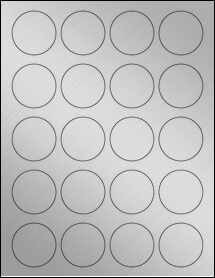 "Sheet of 1.75"" Circle Weatherproof Silver Polyester Laser labels"