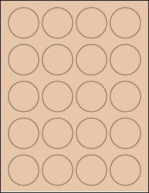 "Sheet of 1.75"" Circle Light Tan labels"