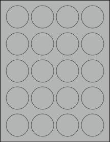"Sheet of 1.75"" Circle True Gray labels"