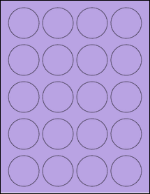 "Sheet of 1.75"" Circle True Purple labels"