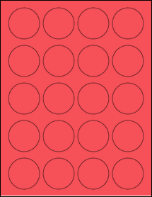 "Sheet of 1.75"" Circle True Red labels"