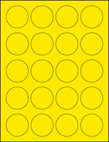 "Sheet of 1.75"" Circle True Yellow labels"