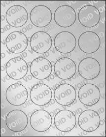 """Sheet of 1.75"""" Circle Void Silver Polyester labels"""