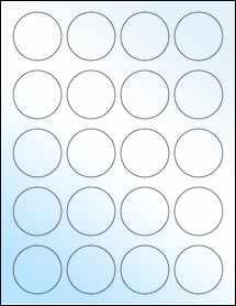 "Sheet of 1.75"" Circle White Gloss Inkjet labels"