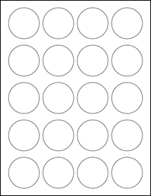 "Sheet of 1.75"" Circle Weatherproof Matte Inkjet labels"