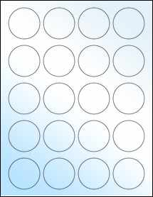 "Sheet of 1.75"" Circle White Gloss Laser labels"