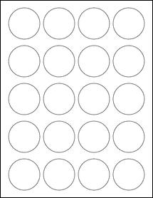 "Sheet of 1.75"" Circle Standard White Matte labels"