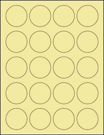 """Sheet of 1.75"""" Circle Pastel Yellow labels"""