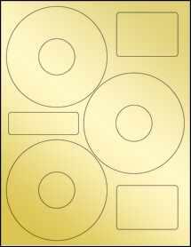 """Sheet of 4.52"""" CD  Gold Foil Laser labels"""
