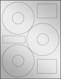 "Sheet of 4.52"" CD  Silver Foil Laser labels"