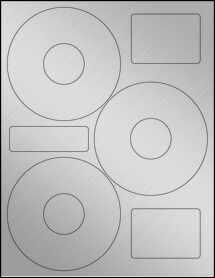"Sheet of 4.52"" CD  Weatherproof Silver Polyester Laser labels"