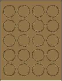 """Sheet of 1.75"""" Starburst Brown Kraft labels"""
