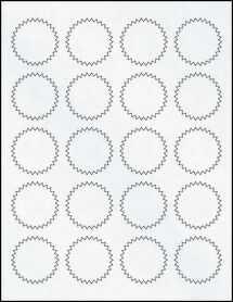 "Sheet of 1.75"" Starburst Clear Matte Inkjet labels"