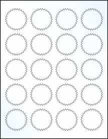 """Sheet of 1.75"""" Starburst Clear Gloss Inkjet labels"""