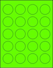 "Sheet of 1.75"" Starburst Fluorescent Green labels"
