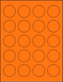 "Sheet of 1.75"" Starburst Fluorescent Orange labels"