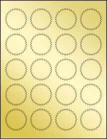 """Sheet of 1.75"""" Starburst Gold Foil Laser labels"""