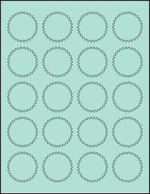 """Sheet of 1.75"""" Starburst Pastel Green labels"""