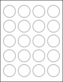 "Sheet of 1.75"" Starburst 100% Recycled White labels"