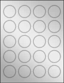 """Sheet of 1.75"""" Starburst Silver Foil Inkjet labels"""