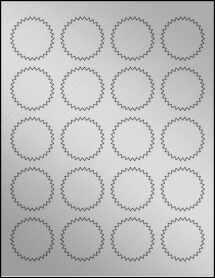 """Sheet of 1.75"""" Starburst Weatherproof Silver Polyester Laser labels"""