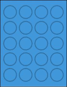 "Sheet of 1.75"" Starburst True Blue labels"