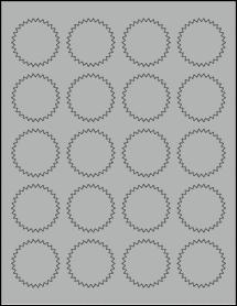 "Sheet of 1.75"" Starburst True Gray labels"
