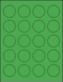 "Sheet of 1.75"" Starburst True Green labels"