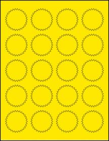 "Sheet of 1.75"" Starburst True Yellow labels"