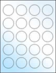 """Sheet of 1.75"""" Starburst White Gloss Inkjet labels"""