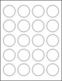"Sheet of 1.75"" Starburst Removable White Matte labels"