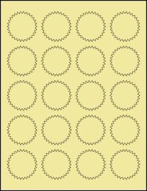 """Sheet of 1.75"""" Starburst Pastel Yellow labels"""