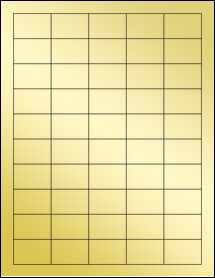 "Sheet of 1.5"" x 1"" Gold Foil Inkjet labels"